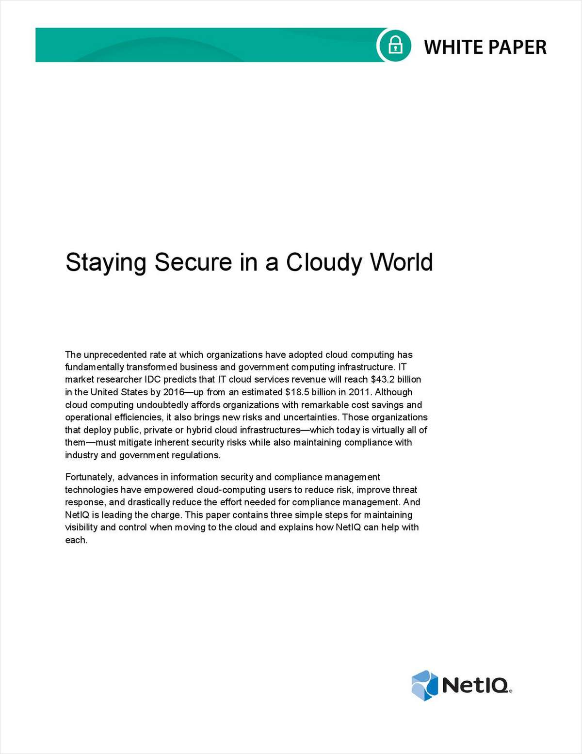 Staying Secure in a Cloudy World