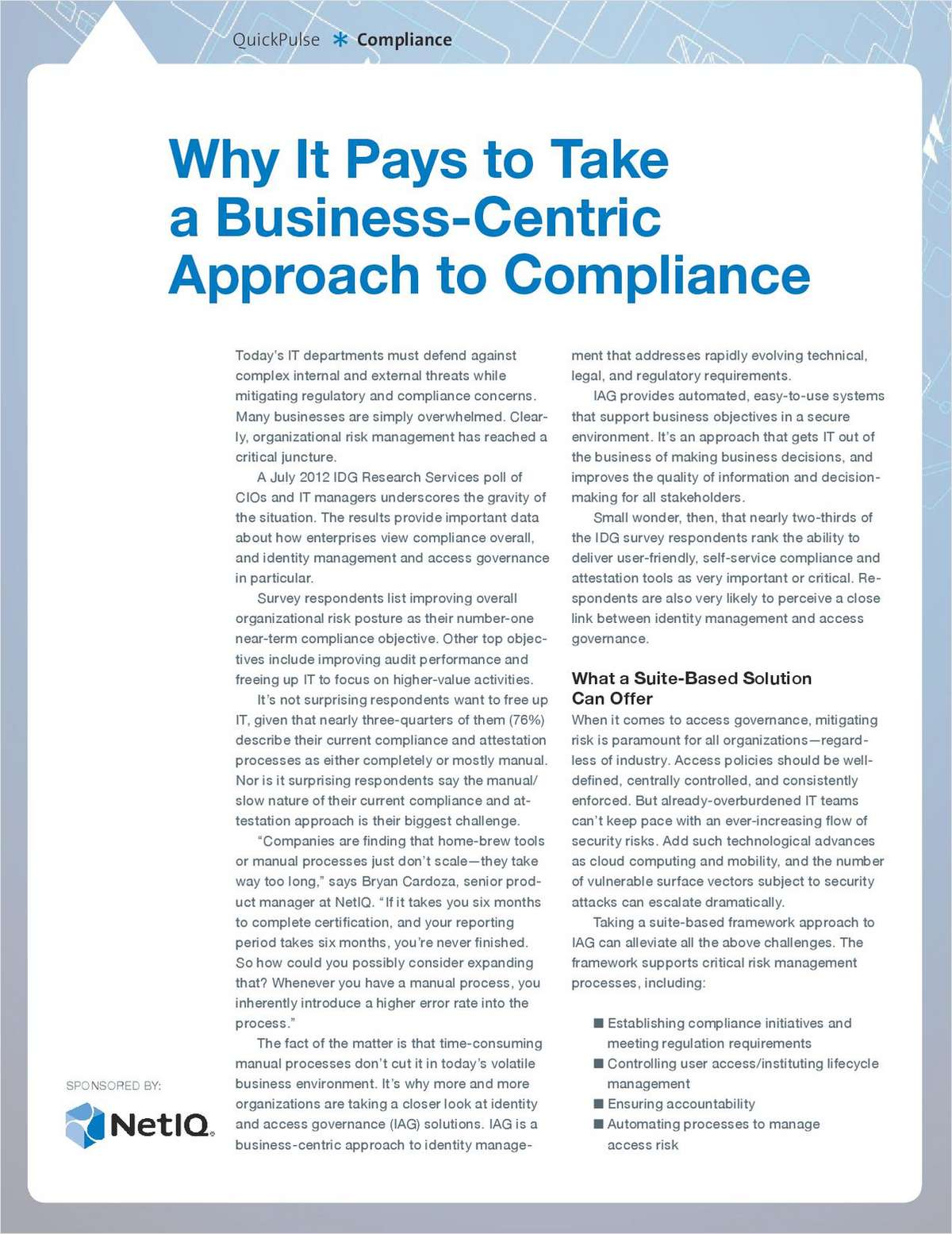 Why It Pays to Take a Business-Centric Approach to Compliance