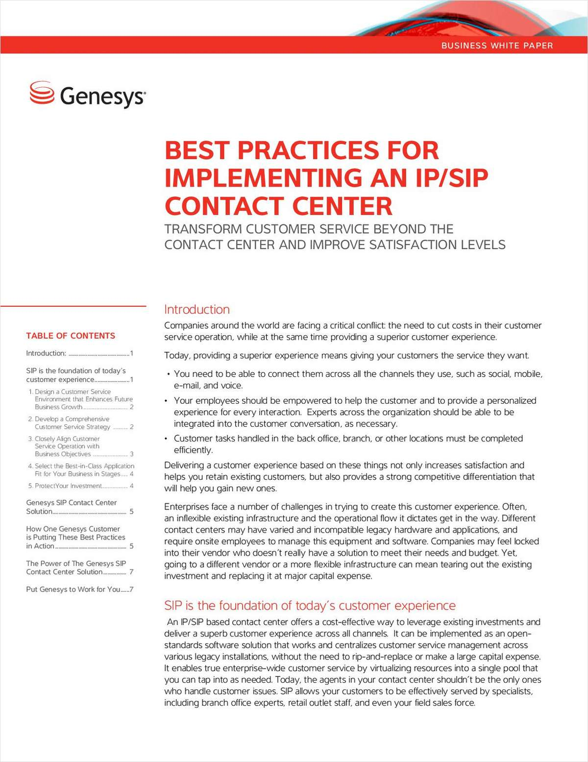 Best Practices for Implementing an IP/SIP Contact Center