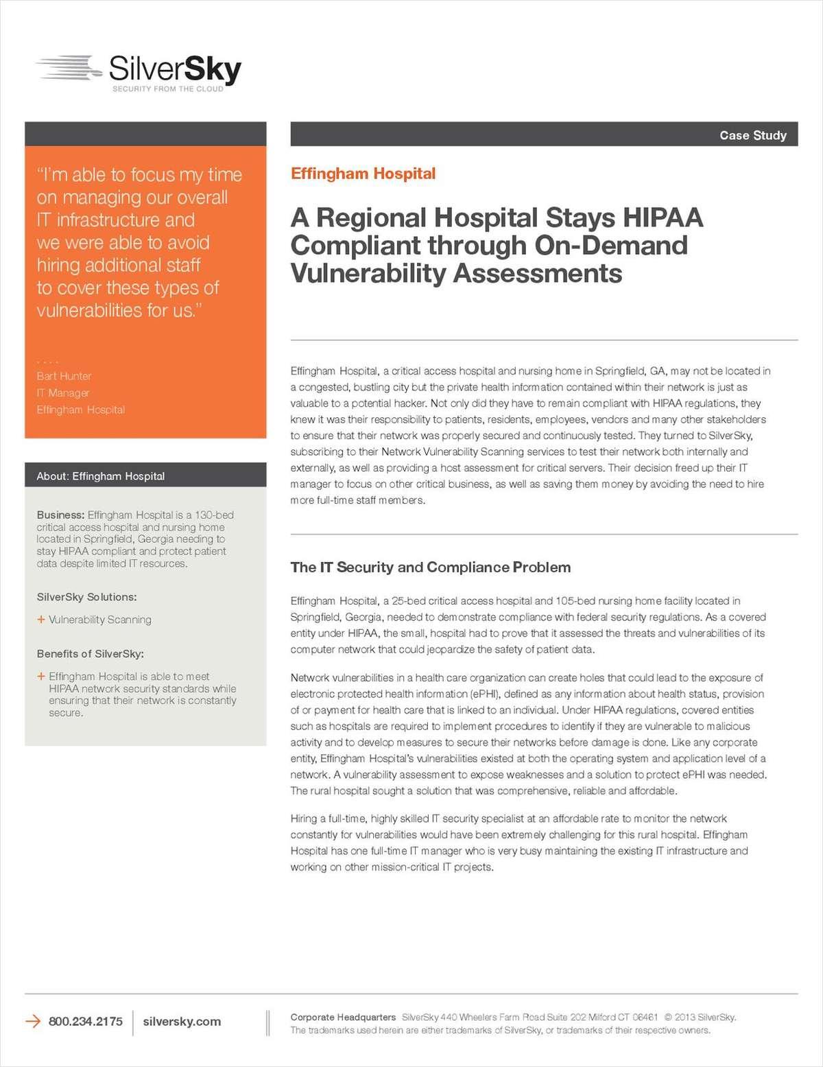A Regional Hospital Stays HIPAA Compliant through On-Demand Vulnerability Assessments