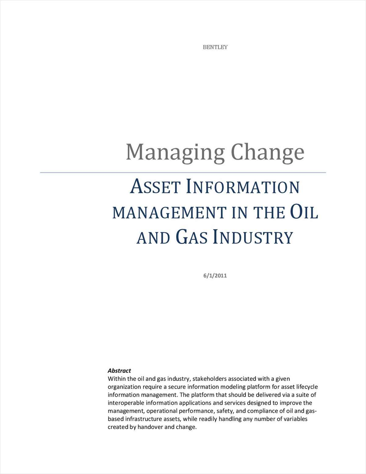 Managing Change – Asset Information Management in the Oil & Gas Industry