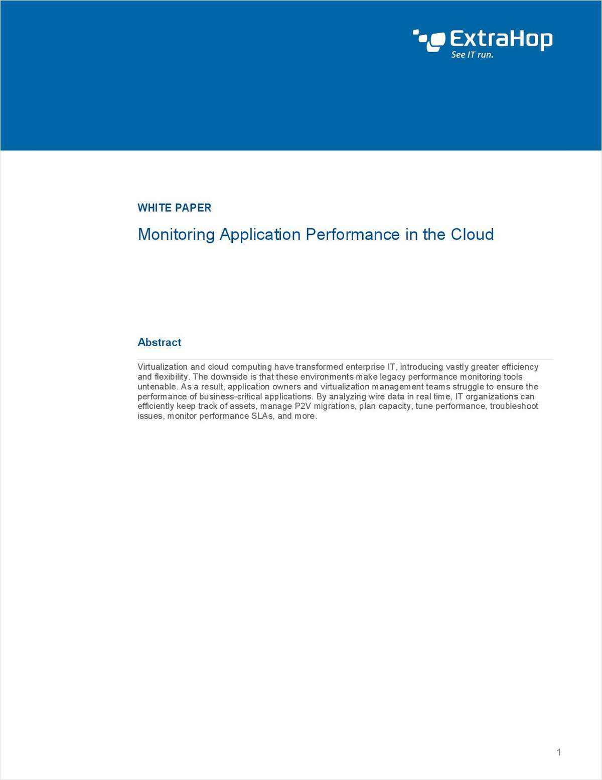 Monitor Application Performance in Virtualized and Cloud Environments