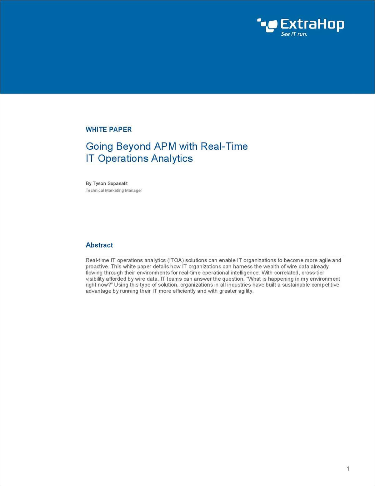 Go Beyond APM with Real-Time IT Operations Analytics