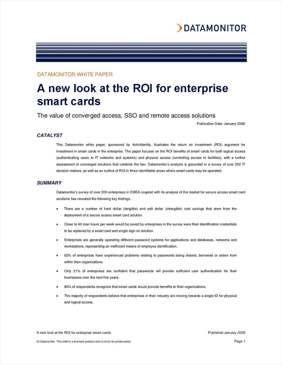 A New Look at the ROI for Enterprise Smart Cards