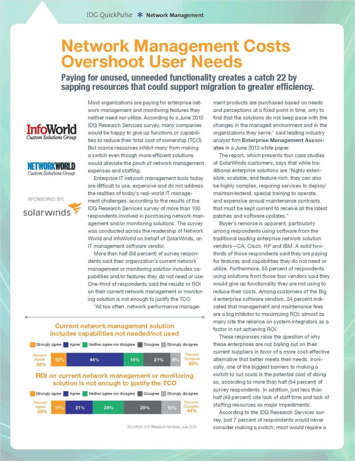 Network Management Costs Overshoot User Needs