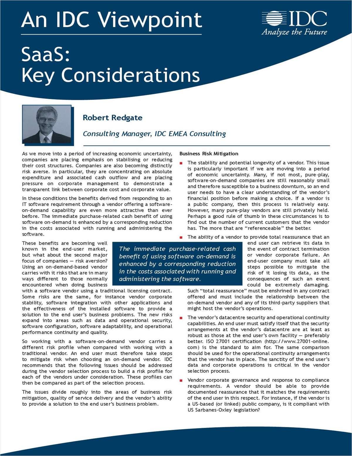 IDC Viewpoint - SaaS: Key Considerations