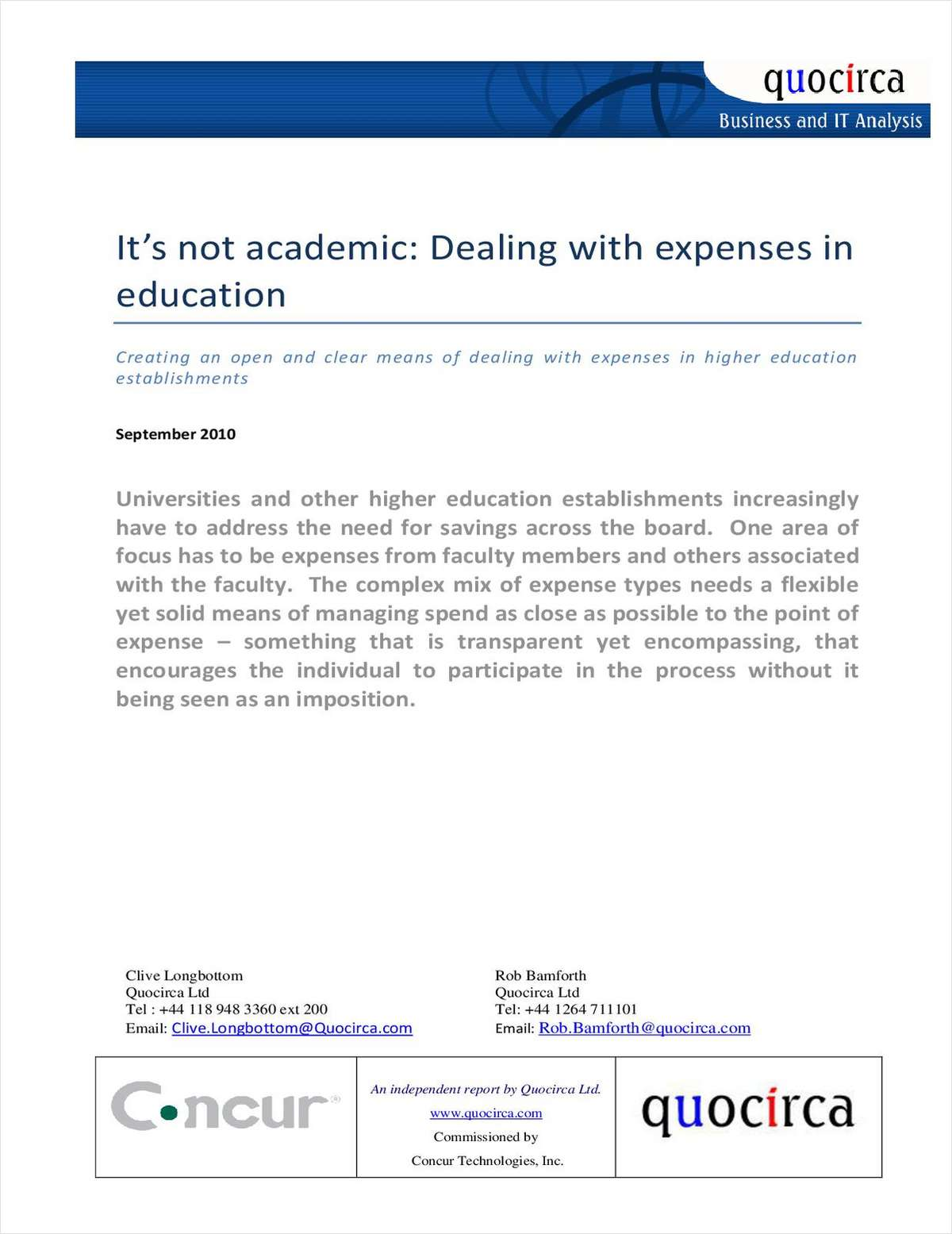 It's Not Academic - Dealing with Expense Management in Higher Education