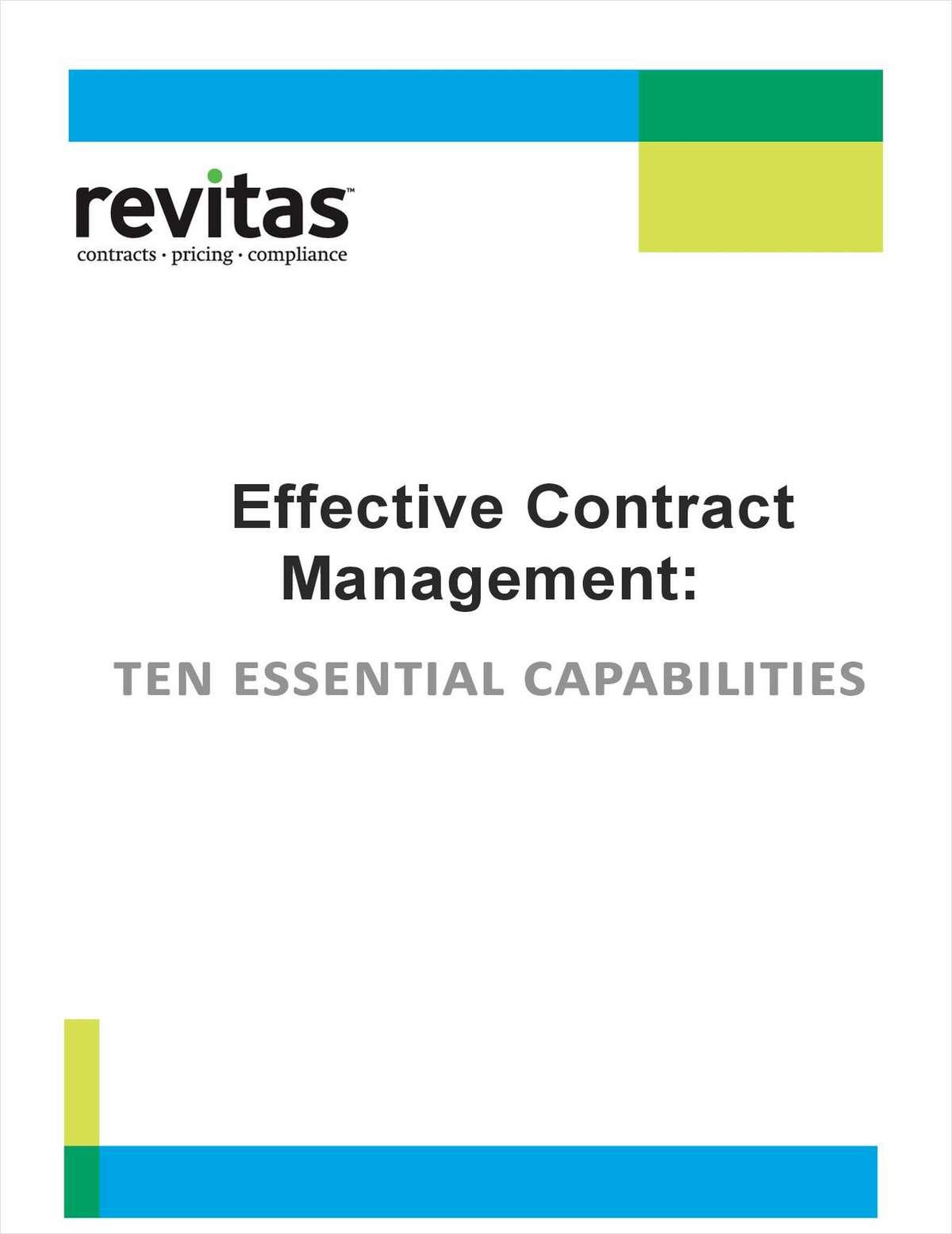 Ten Essential Capabilities for Effective Contract Management