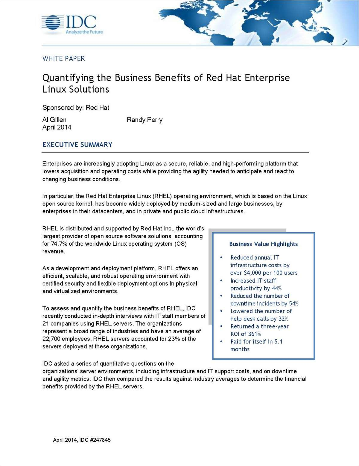 Quantifying the Business Benefits of Red Hat Enterprise Linux Solutions