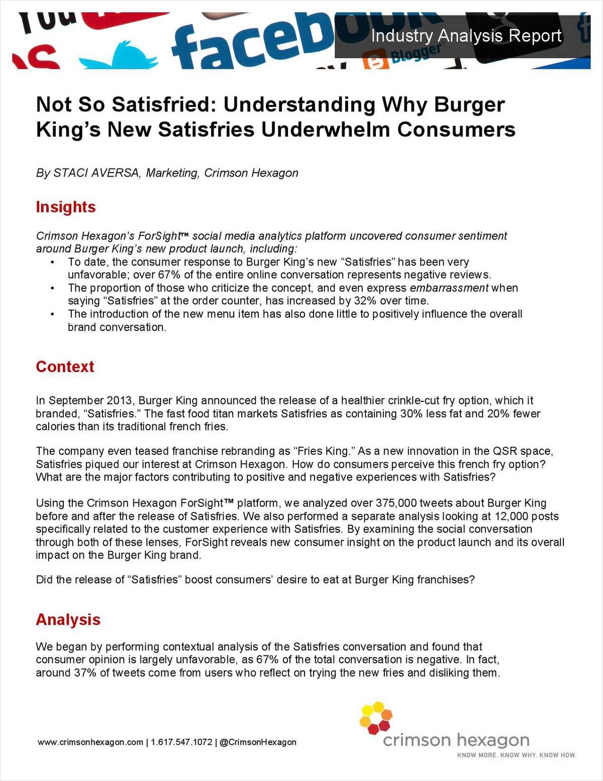 Not So Satisfried: Understanding Why Burger King's New Satisfries Underwhelm Consumers