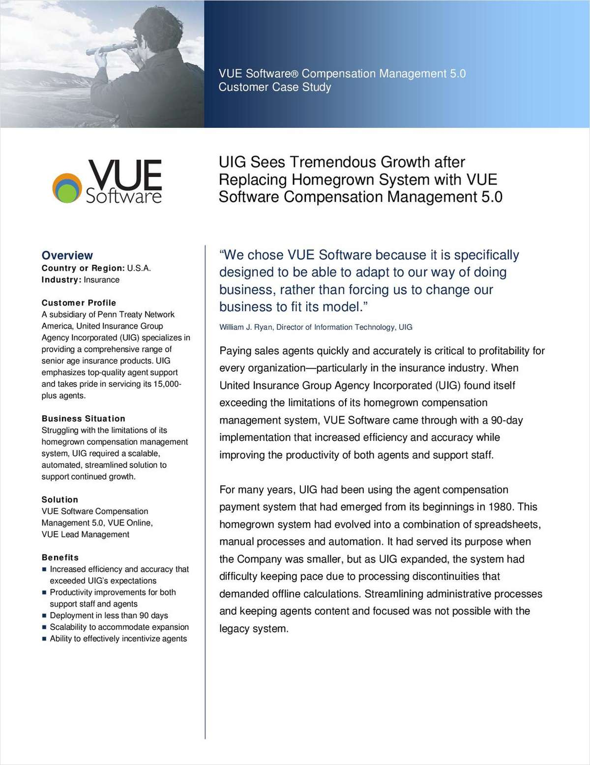 UIG Sees Tremendous Growth after Replacing Homegrown System with VUE Software Compensation Management 5.0