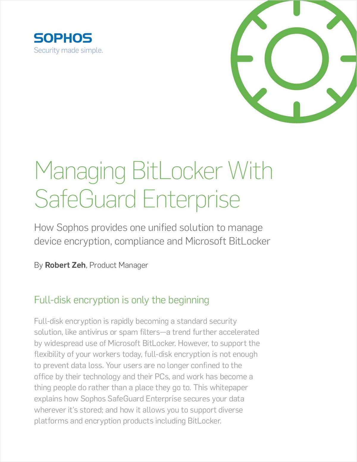 Managing BitLocker with SafeGuard Enterprise