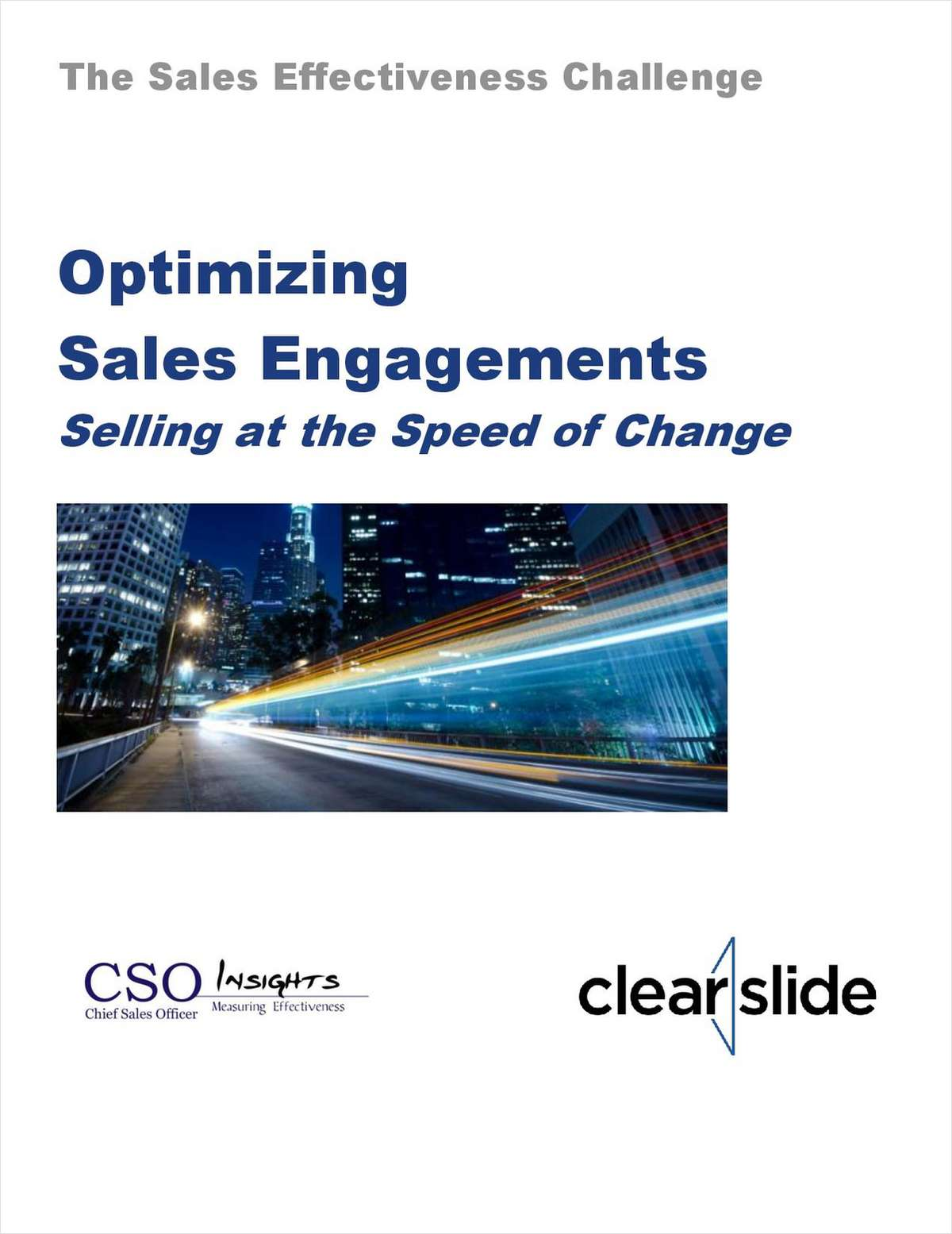 Optimizing Sales Engagements: Selling at the Speed of Change