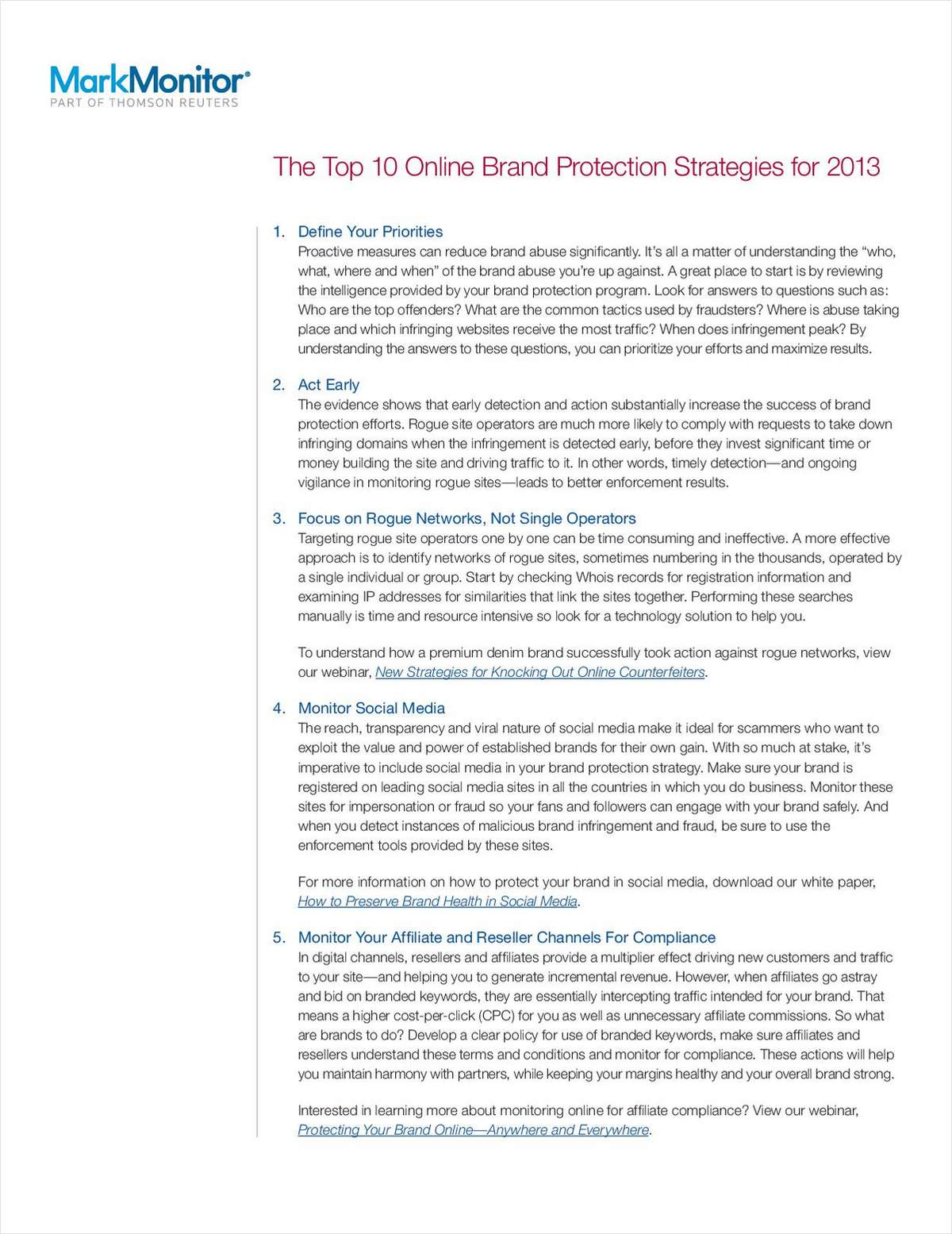 Top 10 Online Brand Protection Strategies for 2013