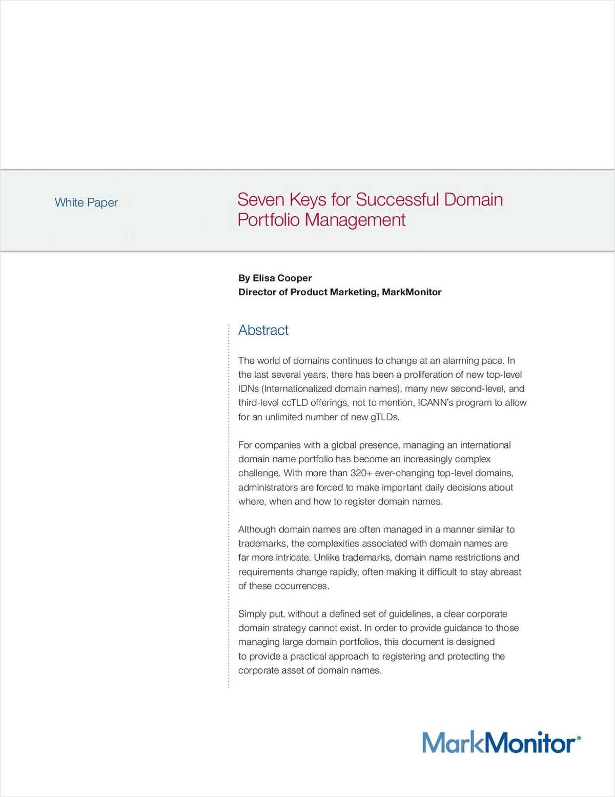 Seven Keys to Successful Domain Portfolio Management
