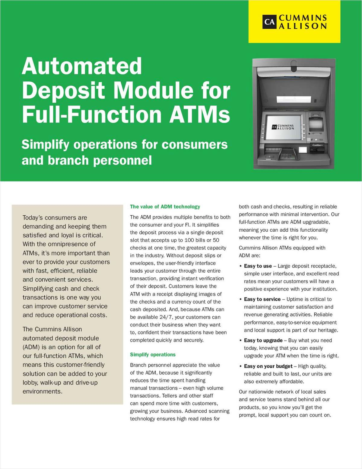 Automated Deposit Module for Full-Function ATMs
