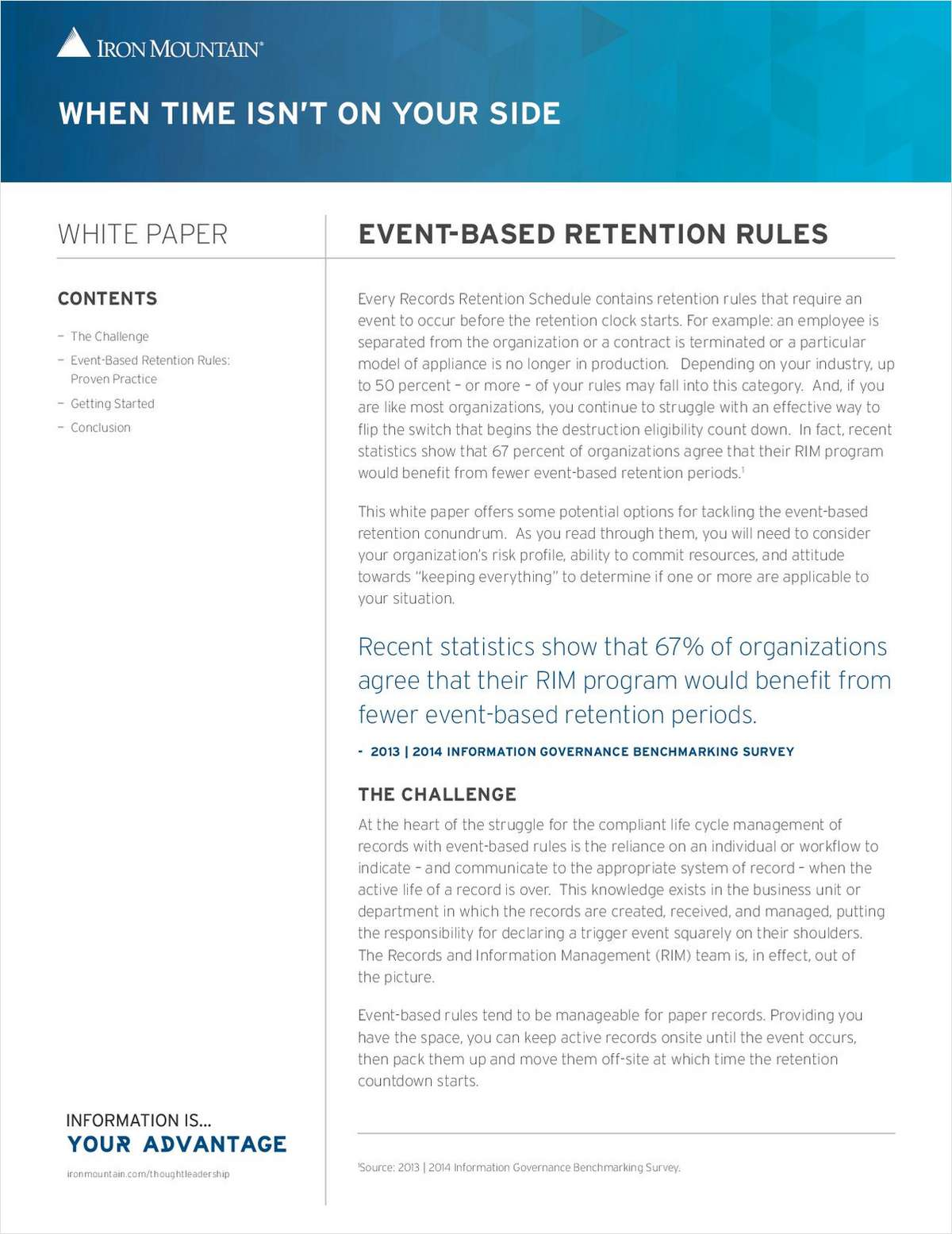 When Time Isn't on Your Side: Options for Tackling Event Based Retention Rules