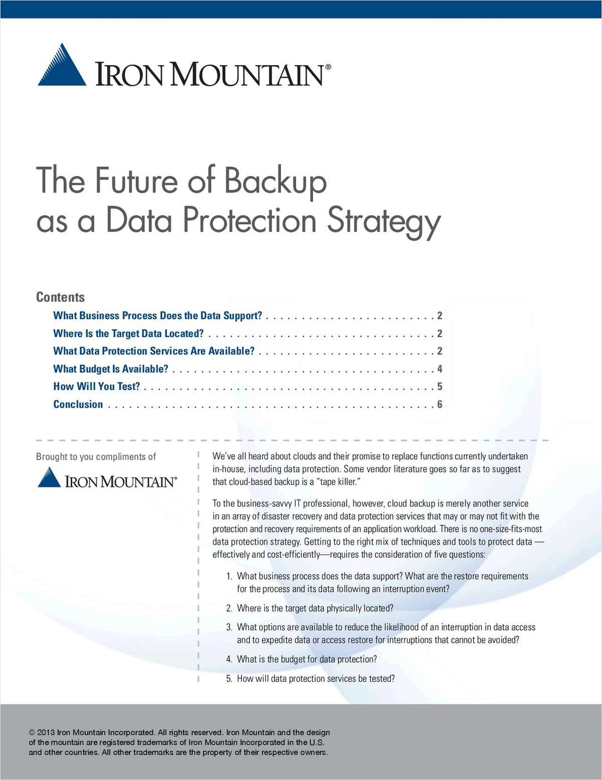The Future of Backup as a Data Protection Strategy