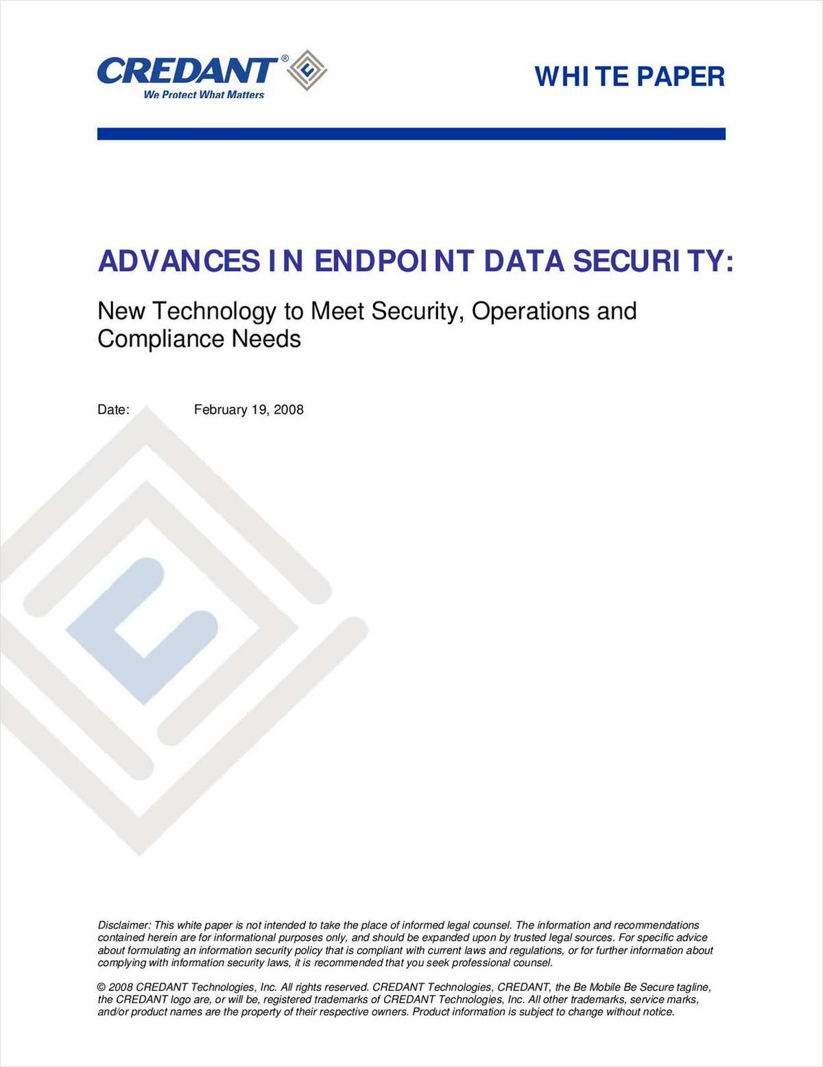 Advances in Endpoint Data Security: New Technology to Meet Security, Operations and Compliance Needs