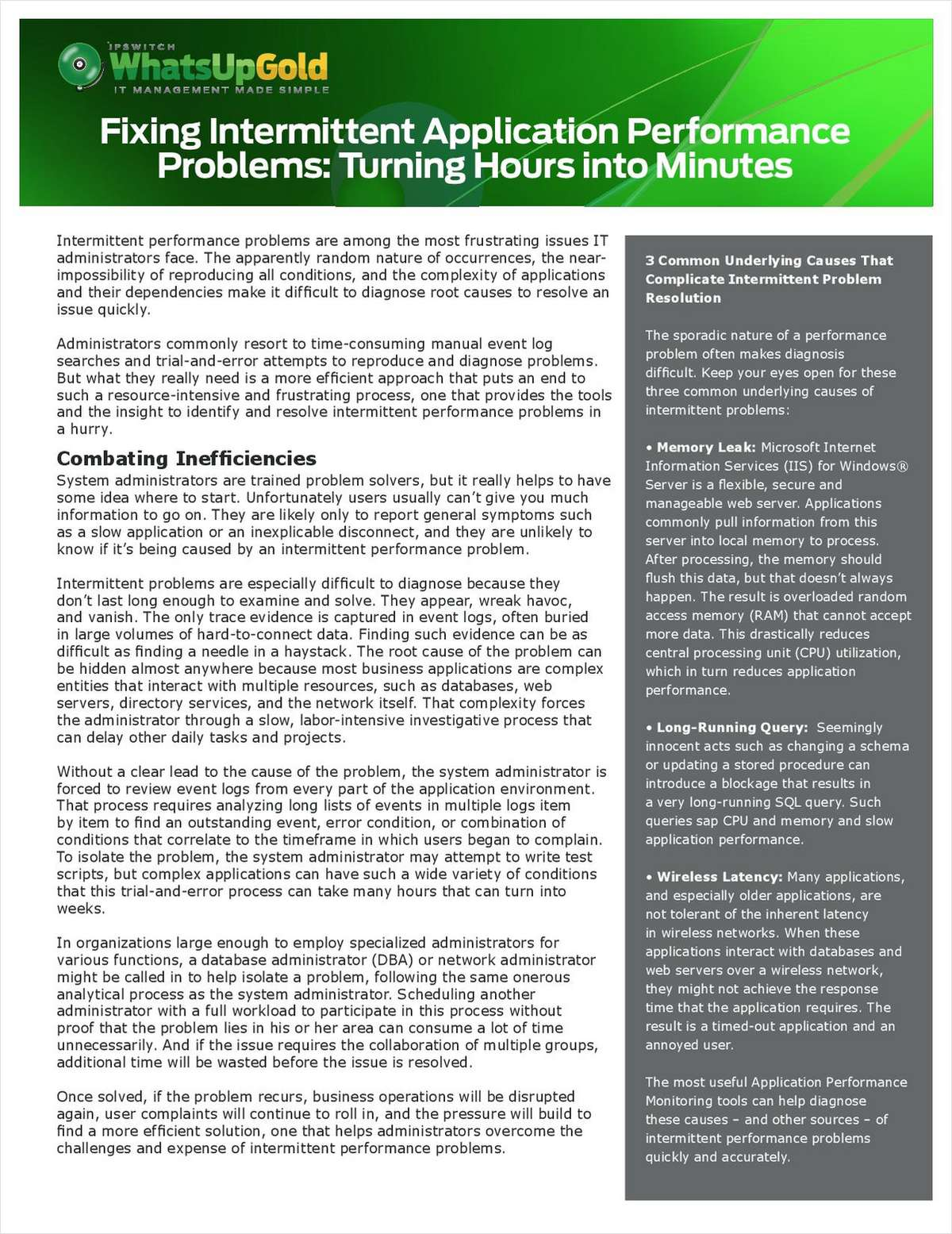 Fixing Intermittent Performance Problems
