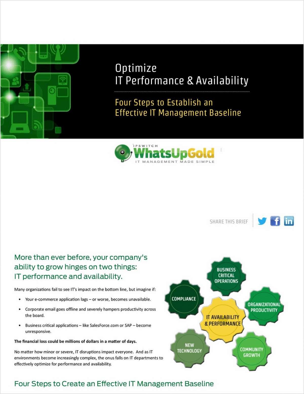 Optimize IT Performance & Availability: Four Steps to Establish Effective IT Management Baselines