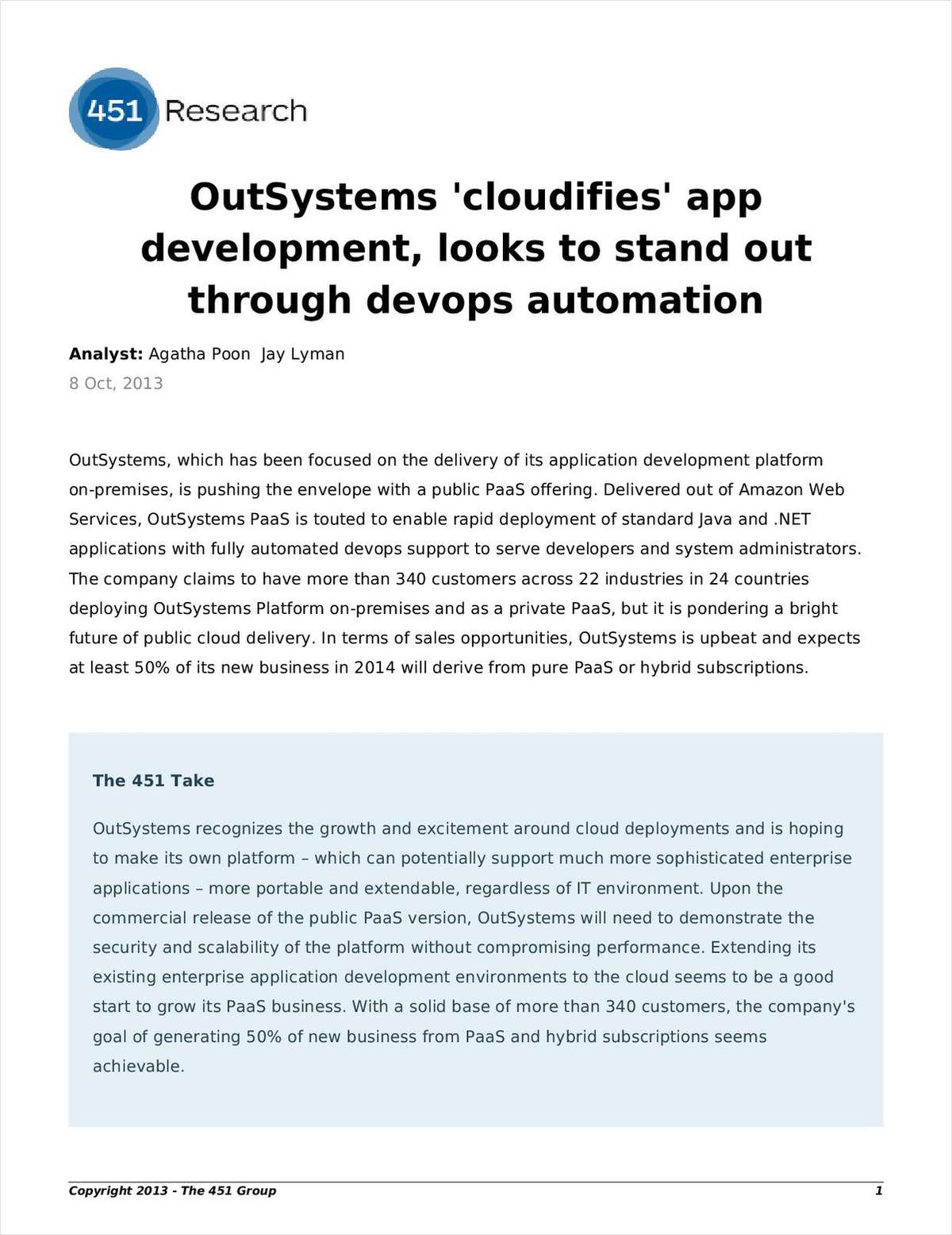 OutSystems 'Cloudifies' App Development: Looks to Stand Out Through DevOps Automation