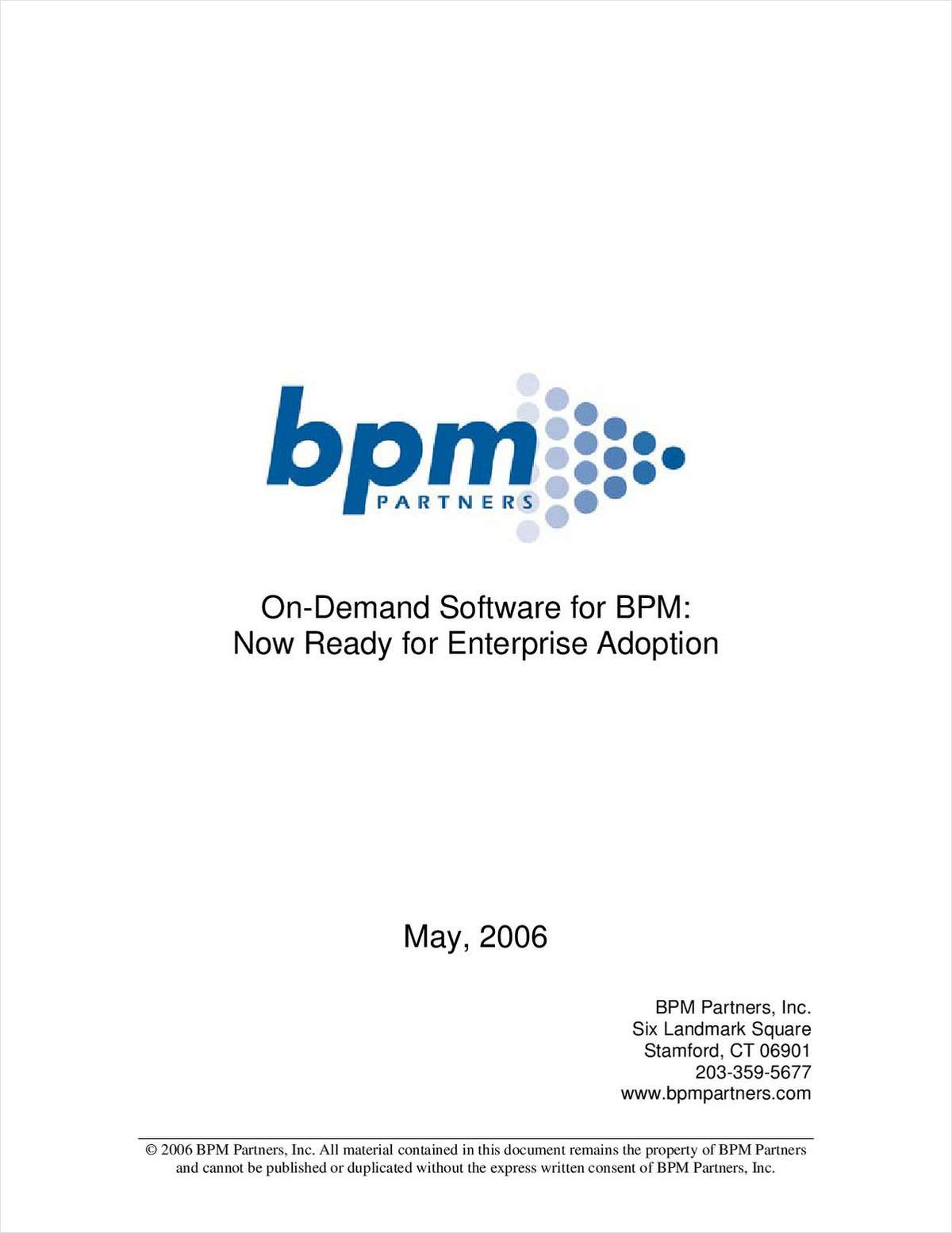On-Demand Software for BPM: Now Ready for Enterprise Adoption