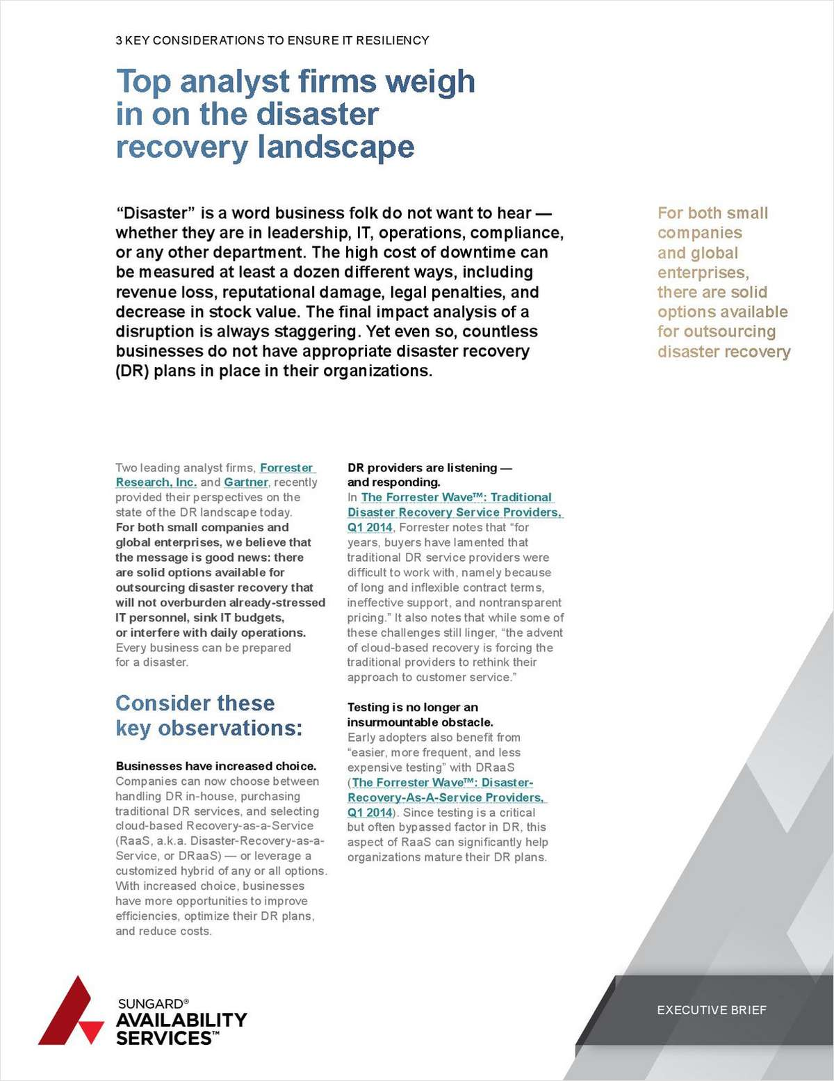 Top Analysts Weigh in on the Disaster Recovery Landscape