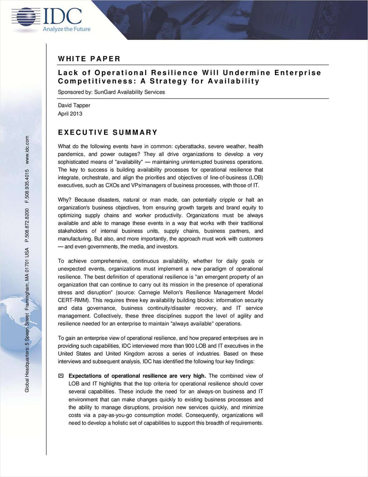 Lack of Operational Resilience Will Undermine Enterprise Competitiveness: A Strategy for Availability