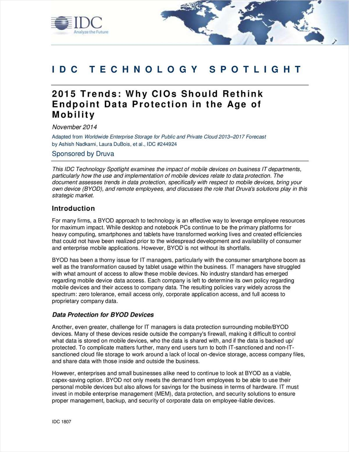 IDC 2015 Trends: Why CIOs Should Rethink Endpoint Data Protection in the Age of Mobility
