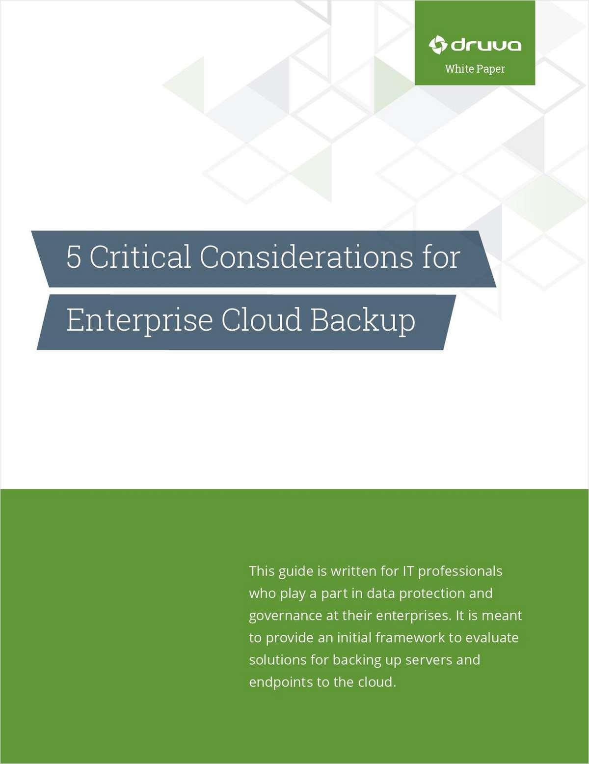5 Critical Considerations for Enterprise Cloud Backup