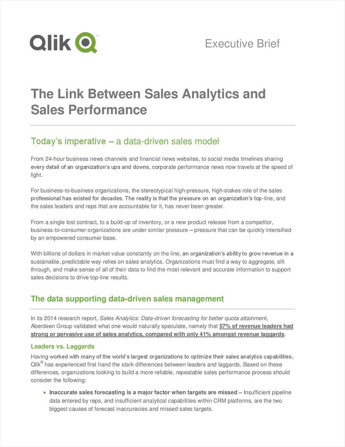 Qlik Executive Brief: The Link Between Sales Analytics and Sales Performance