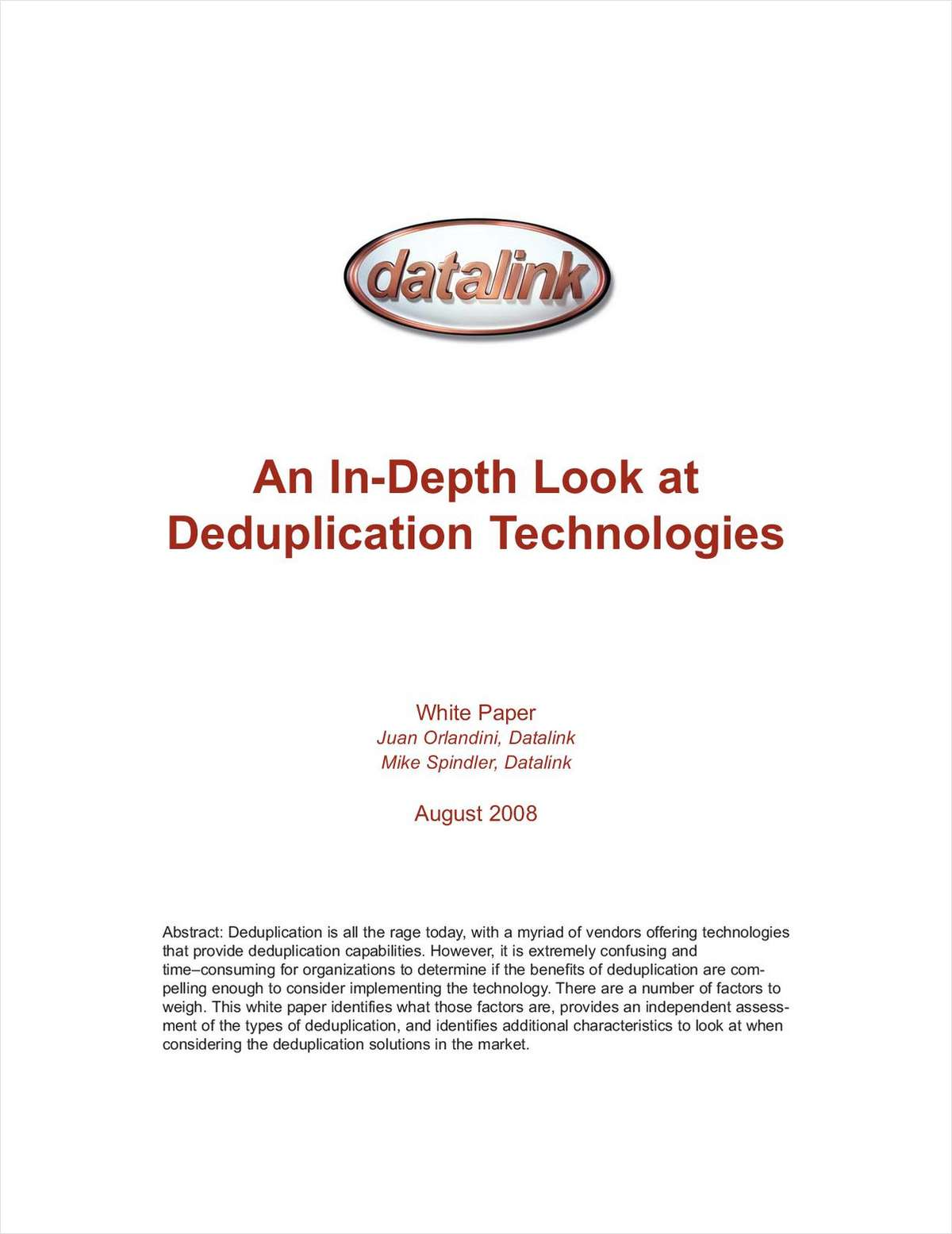 An In-Depth Look at Deduplication Technologies