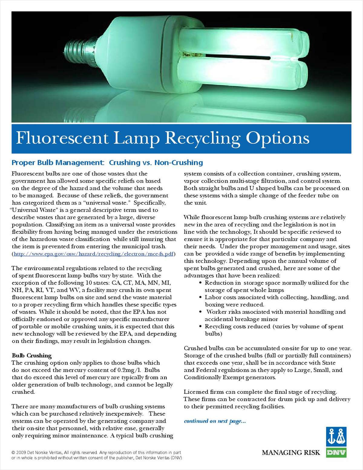 Fluorescent Lamp Recycling Options