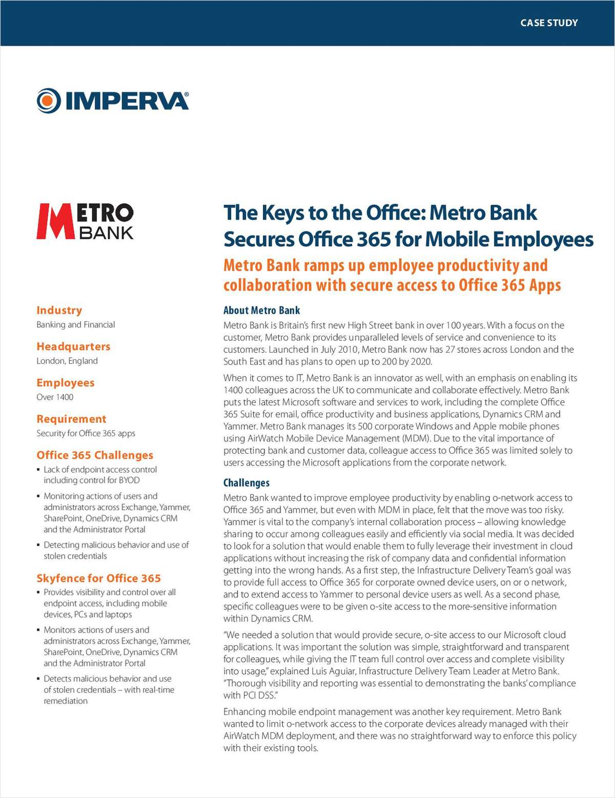 The Keys to the Office: Metro Bank Secures Office 365 for Mobile Employees