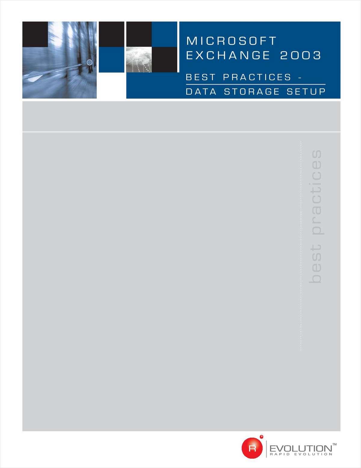 Microsoft Exchange Server 2003: Best Practices for Data Storage Setup