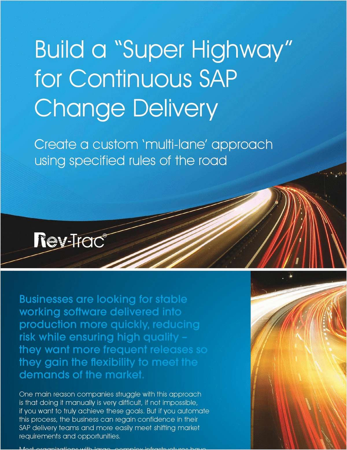 Build a 'Super Highway' for Continuous SAP Change Delivery