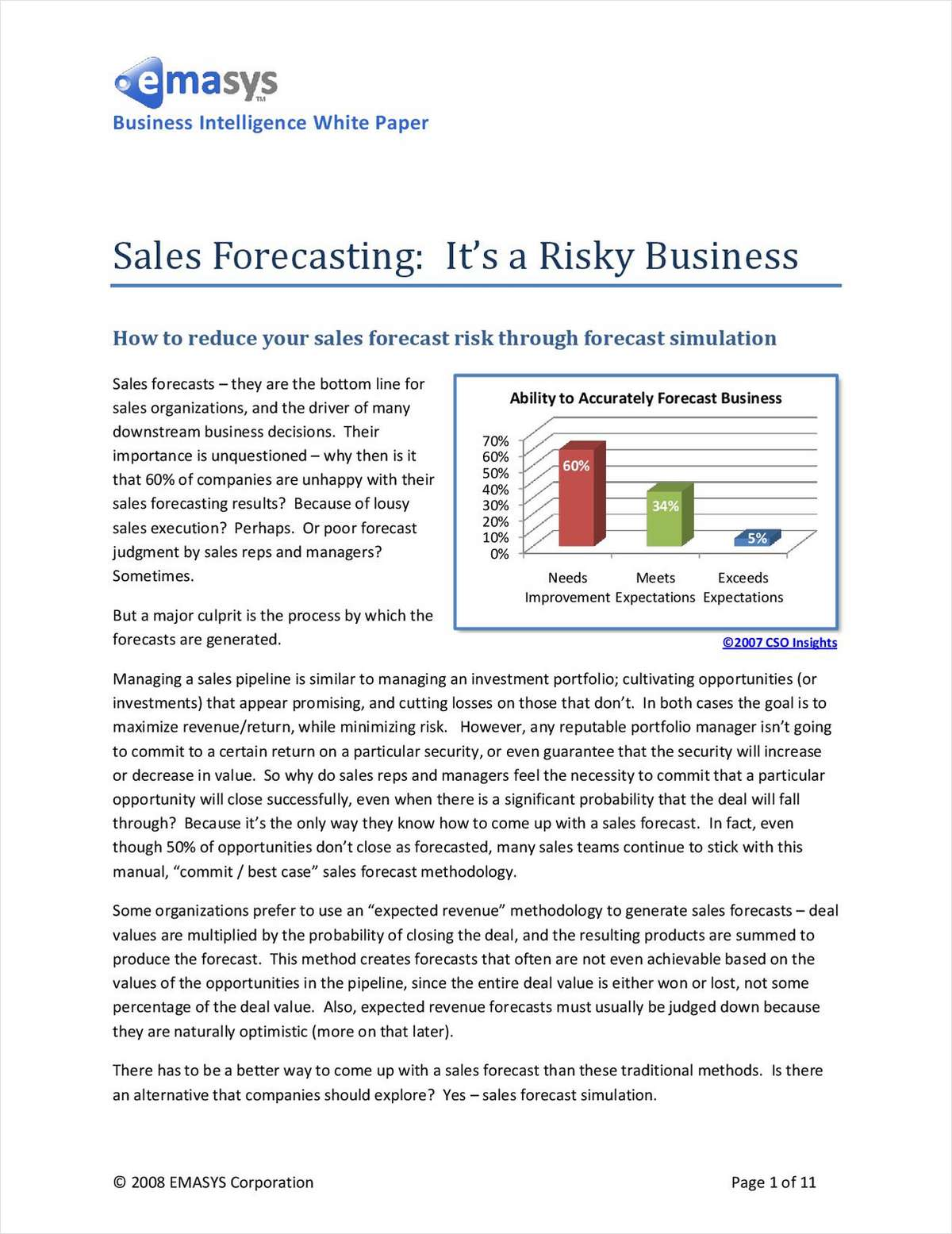 Sales Forecasting:  It's a Risky Business