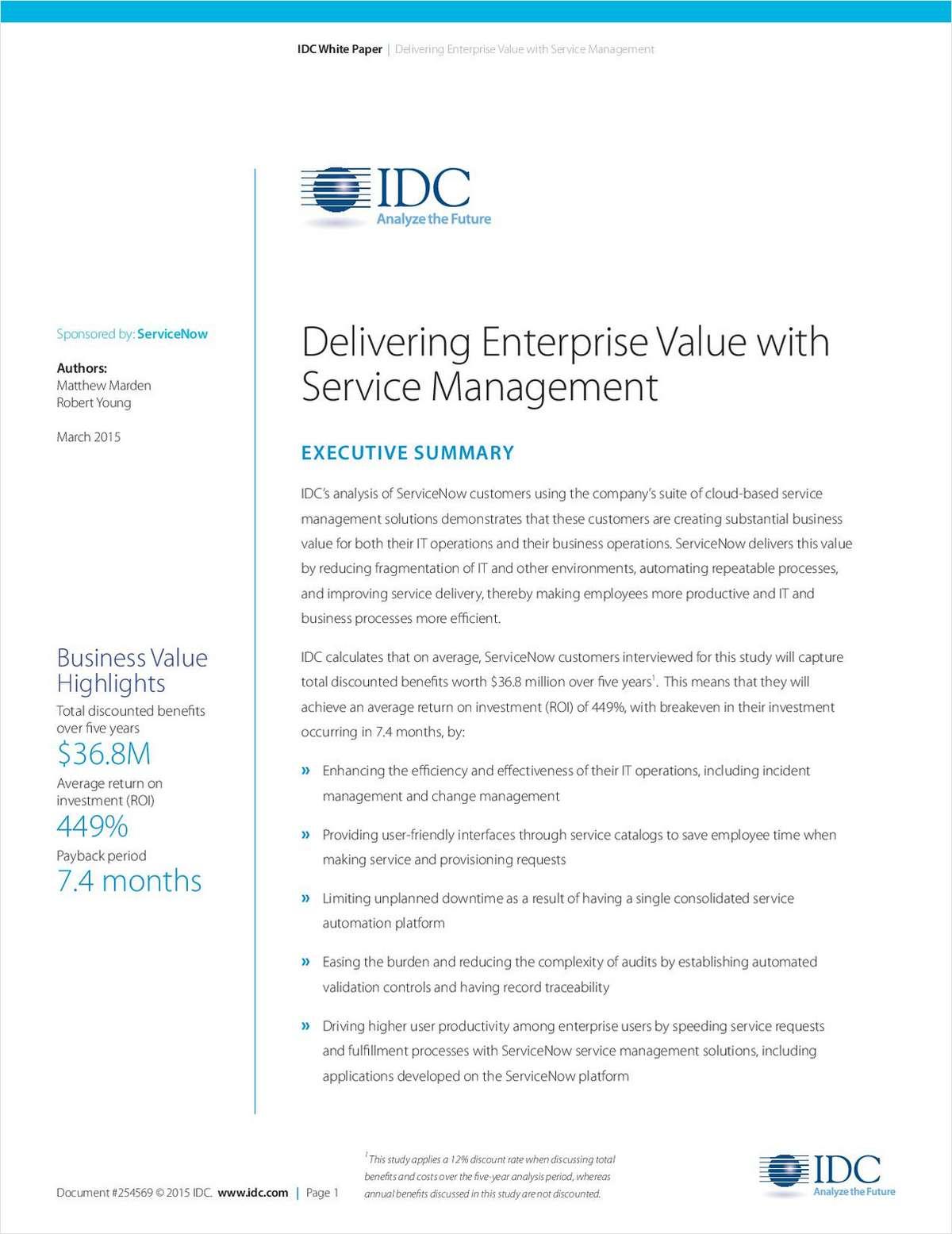 Delivering Enterprise Value with Service Management