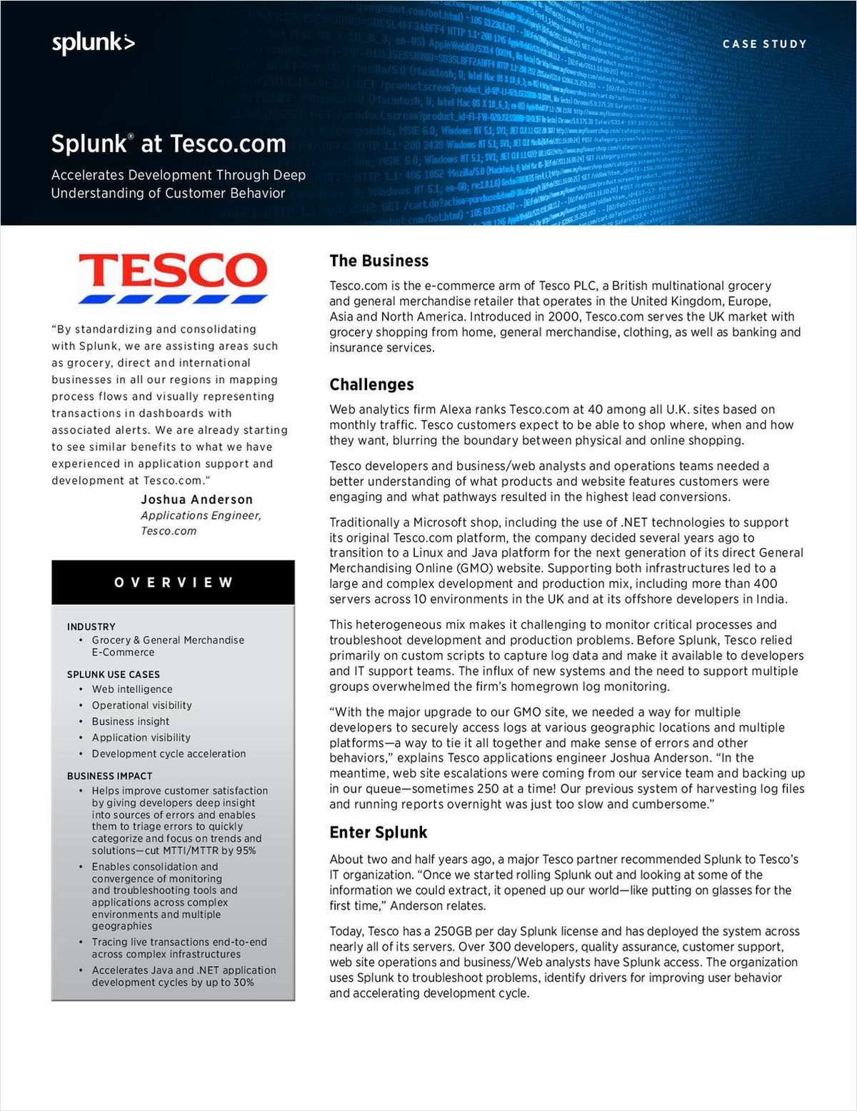 Tesco Uses Splunk to Improve the Online Customer Experience
