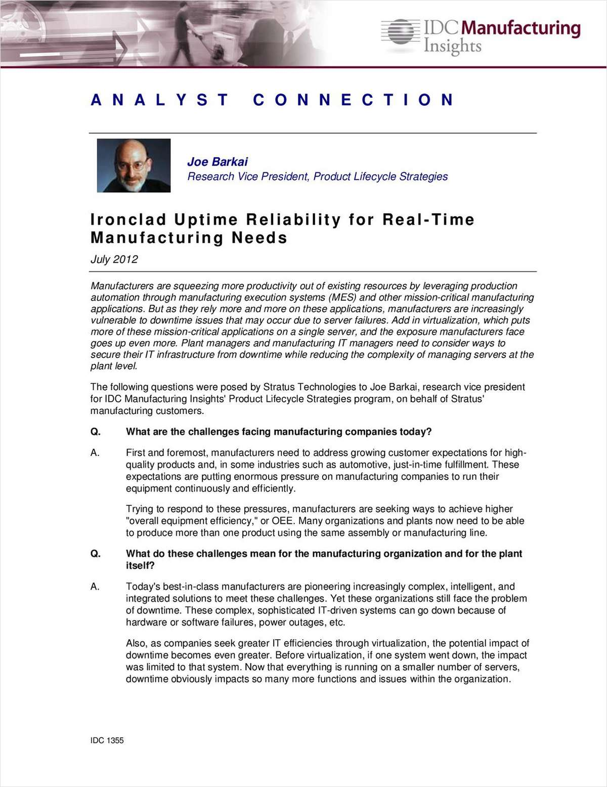 Ironclad Uptime Reliability for Real-Time Manufacturing Needs