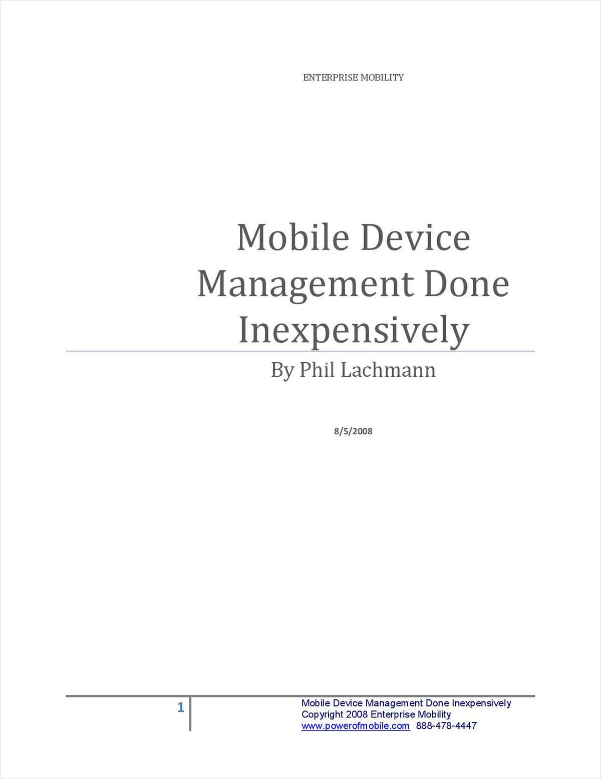 Mobile Device Management Done Inexpensively