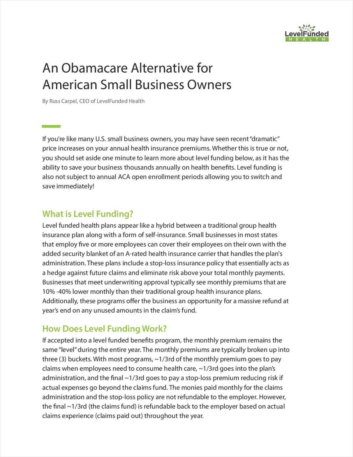 An Obamacare Alternative for Small Business Owners