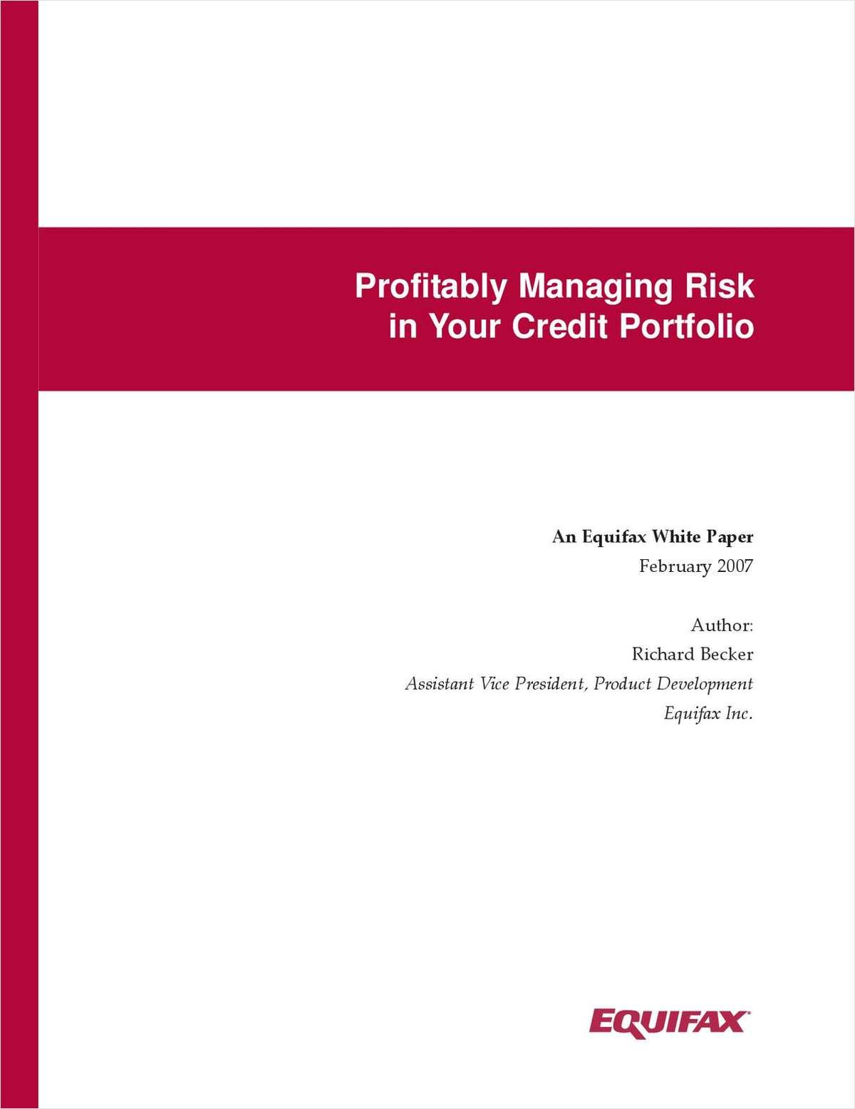 Profitably Managing Risk in Your Credit Portfolio