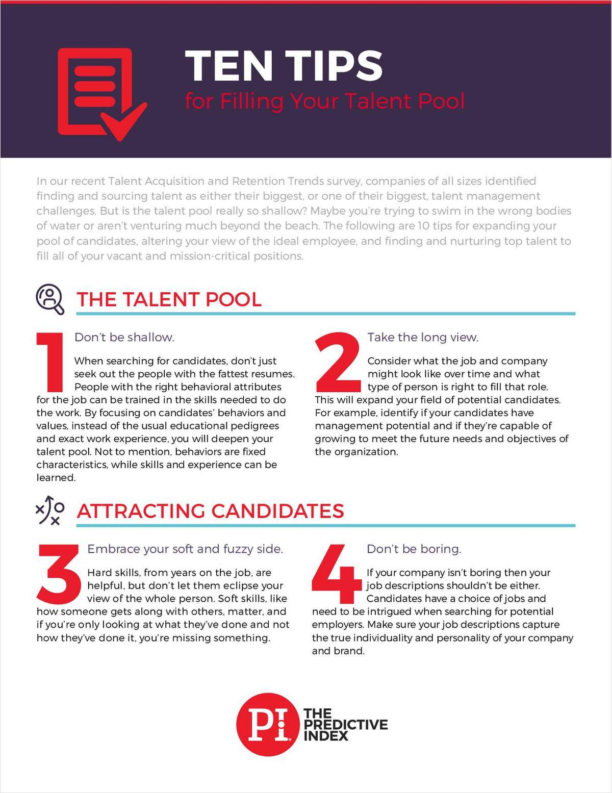 Ten Tips for Filling Your Talent Pool