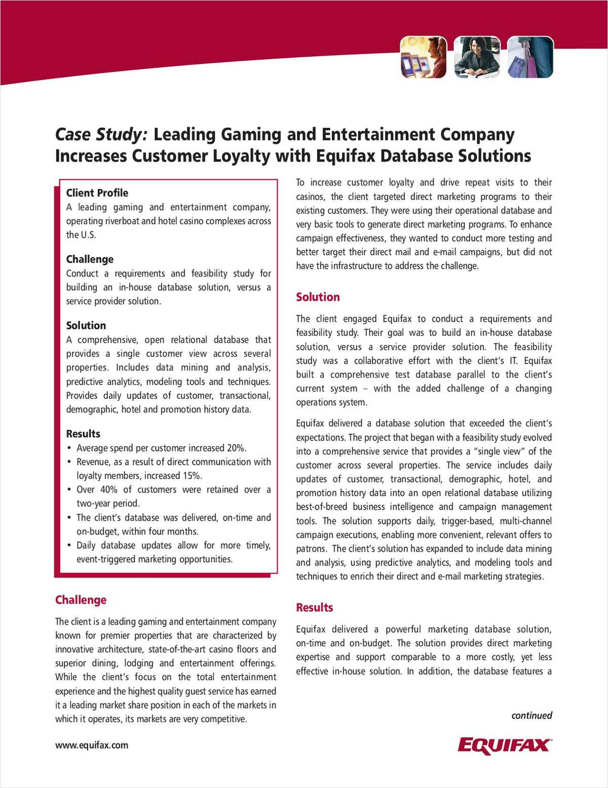 Leading Gaming & Entertainment Company Increases Loyalty with Equifax Database Solutions