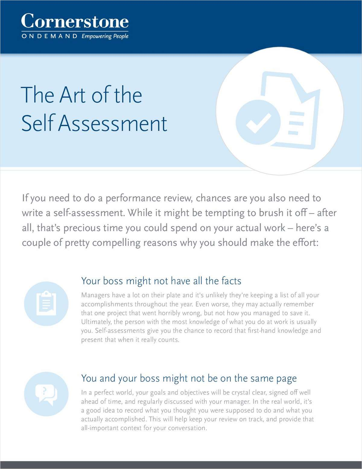 The Art of the Self-Assessment