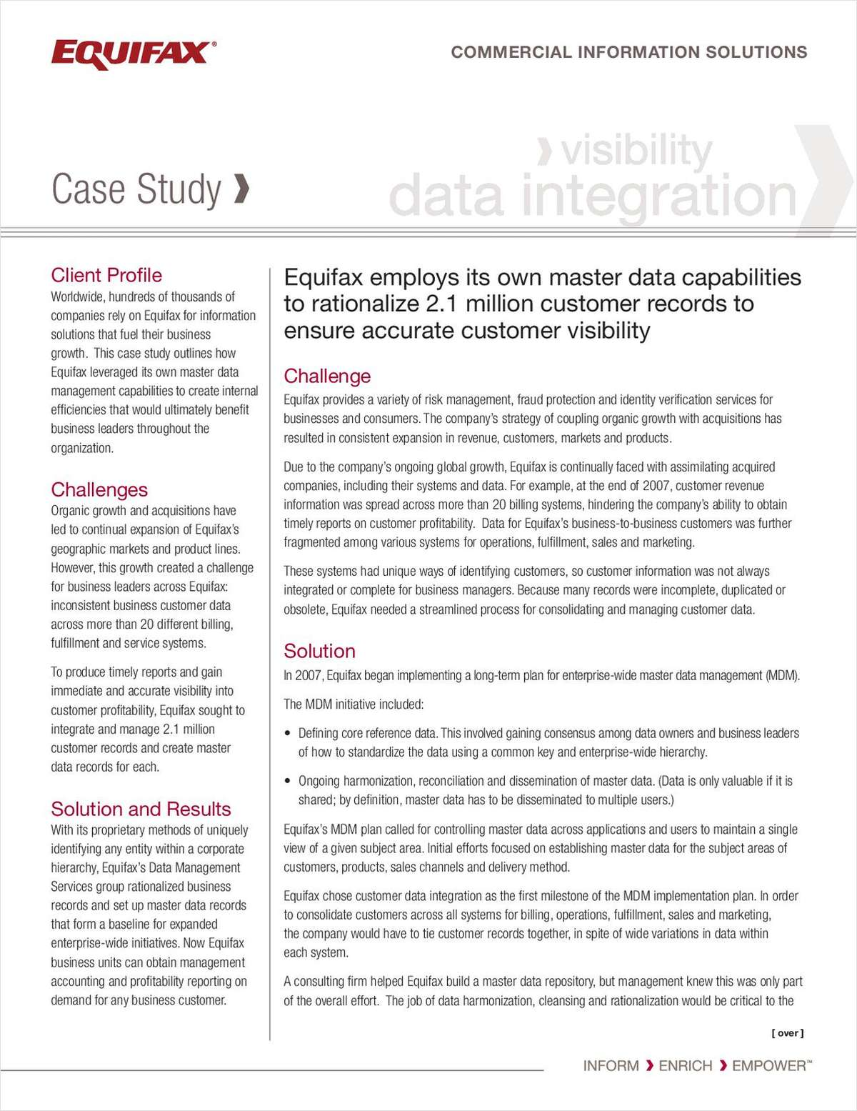 Equifax Master Data Management Case Study