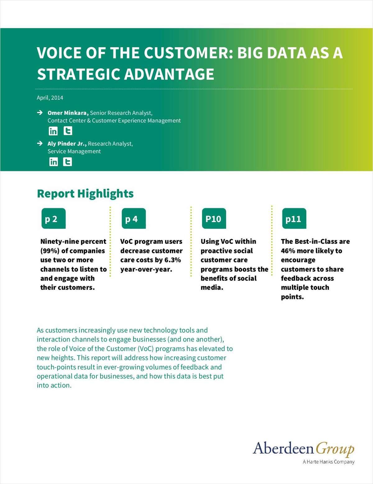 Voice of the Customer: Big Data as a Strategic Advantage