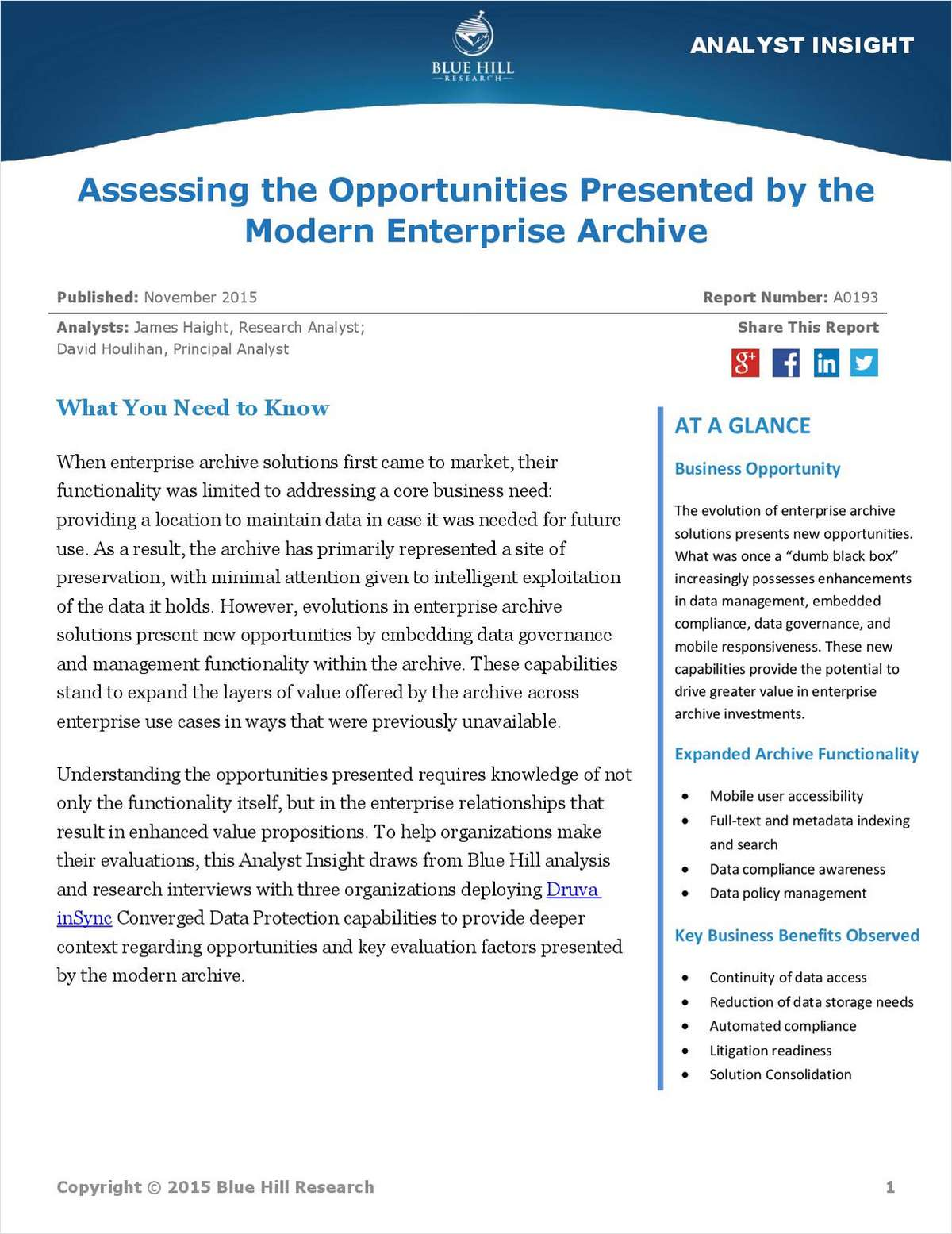 Blue Hill Research Report: Assess and Drive More Value from Enterprise Archive Data